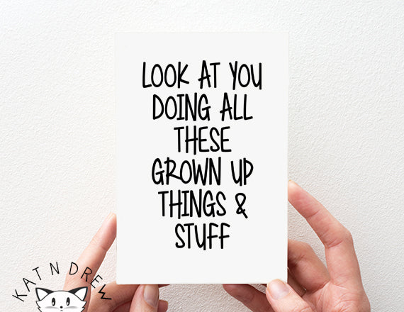 Grown Up Things Card.  PGC120