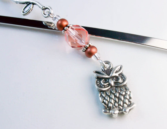 beaded bookmark with owl charm