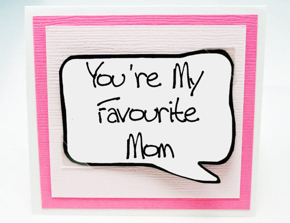 cute birthday card for mom. funny mothers day card in pink.
