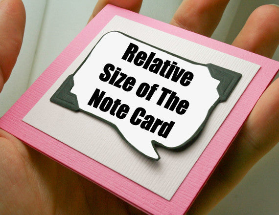 pink note card with magnet