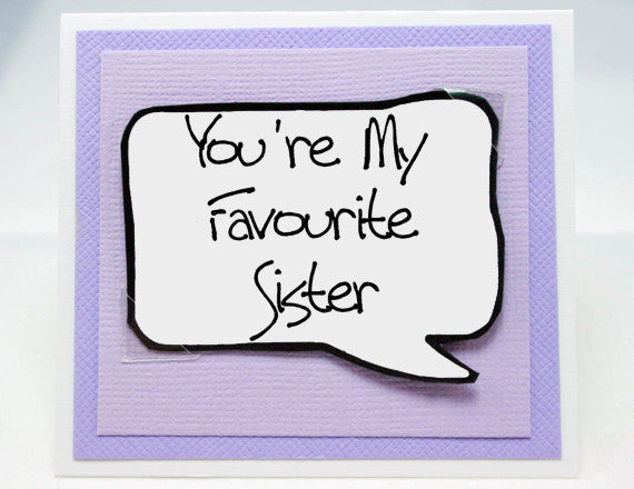 sister card. cute birthday card for my sister. purple note card.