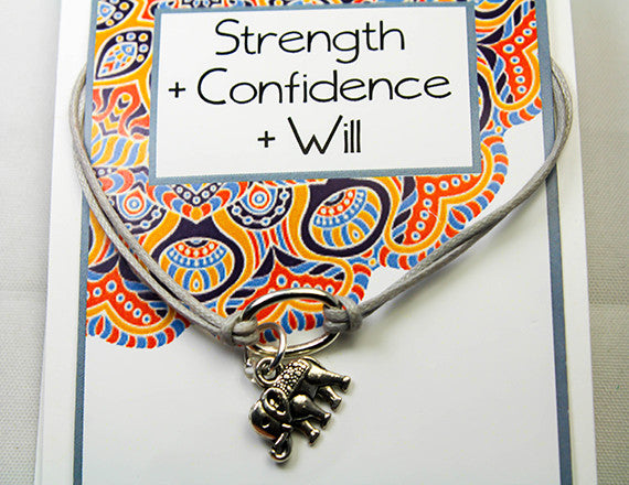 strength and confidence elephant charm bracelet
