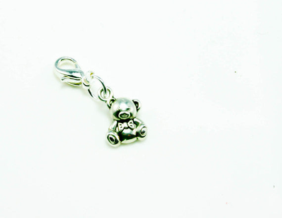 silver teddy bear charm for kids