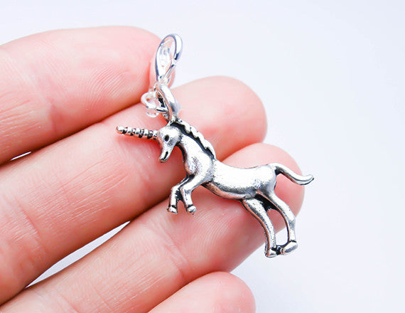 unicorn charm as clip on bracelet charm