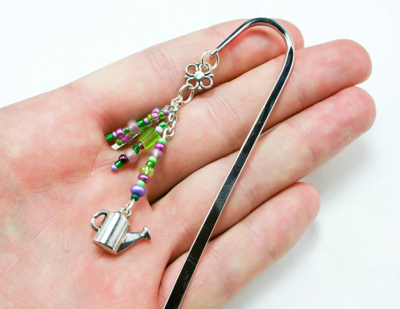 silver bookmark with gardener charm