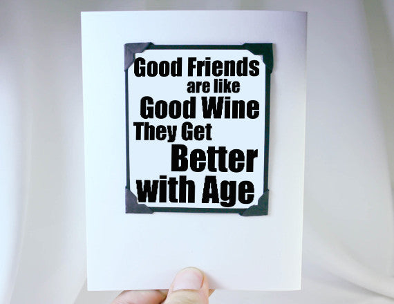 friends and wine birthday card and magnet keepsake