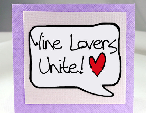 wine lover card for girlfriends note card in purple with magnet