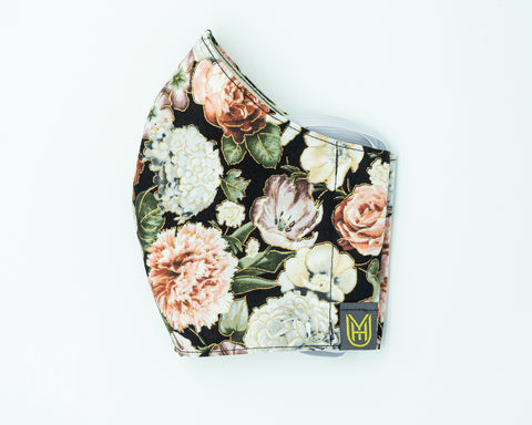 Adult Cotton Face Mask - Black Floral Wallpaper