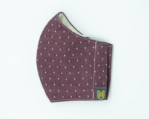 Adult Cotton Face Mask - Burgundy Chambray Dots