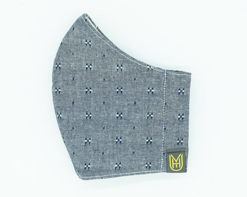 Adult Cotton Face Mask - Indigo Chambray Dots