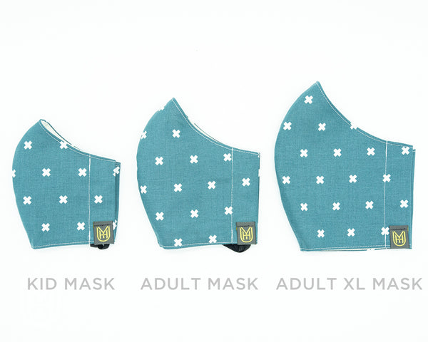 Kid Cotton Face Mask - Gray Stitches