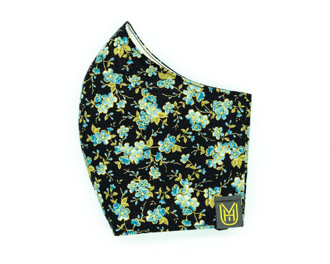 Adult Cotton Face Mask - Black & Blue Flowers