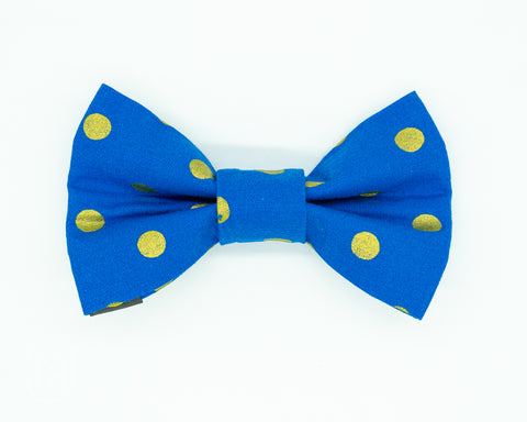 Dapper Dog Bow Tie - Gold Metal Dots
