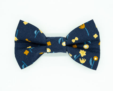 Dapper Dog Bow Tie - Navy Fall Flowers