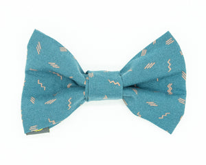 Dapper Dog Bow Tie - Blue Squiggle