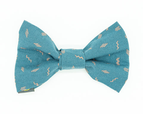 Blue and pink dog bow tie