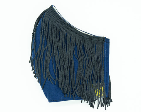 Adult Cotton Face Mask - S.E. Black Fringe & Navy