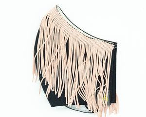 Adult Cotton Face Mask - S.E. Pale Pink Fringe & Black
