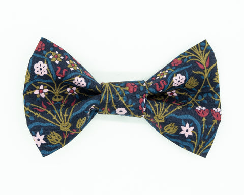 Dapper Dog Bow Tie - Navy & Gold Flowers