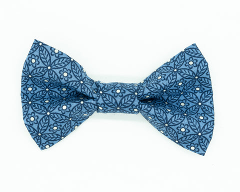 Dapper Dog Bow Tie - Blue Flowers & Leaves