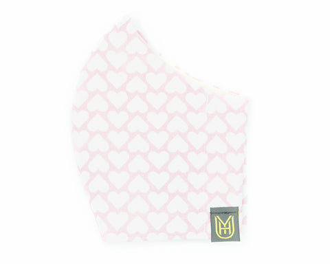 Adult Cotton Face Mask - Pink & White Hearts