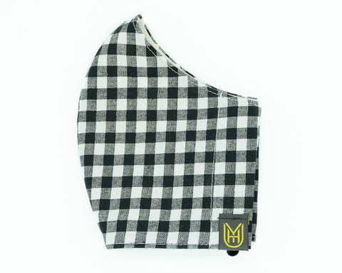 Adult Cotton Face Mask - Black & White Gingham
