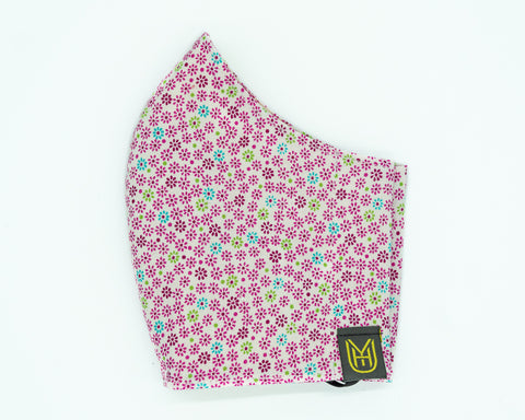 Adult Cotton Face Mask - Flower Dots