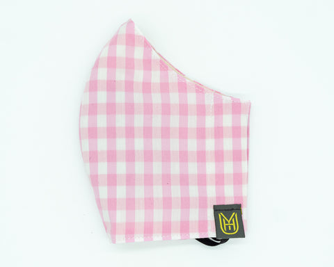 Adult Cotton Face Mask - Pink Gingham