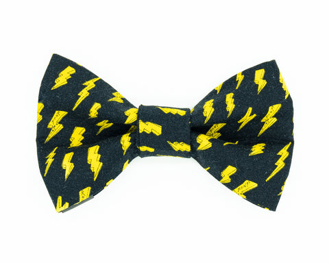 Black and yellow Bowie dog bow tie
