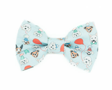 Blue birthday dog bow tie