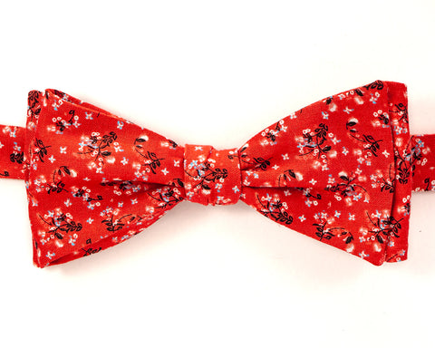 "100% Cotton Red w/Multi Color Print Self Tie Bow Tie Classic Butterfly Shape Adjustable from 14.5""-18"" Handmade in Seattle, WA Didn't find the right color or size? Special event, party, school formal or wedding that needs a bespoke bow tie?   We'd love to custom make your perfect bow tie. Shoot us an email and we'll work with you to find the right fit."
