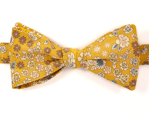 "100% Cotton Mustard Yellow Floral Pattern Self Tie Bow Tie Classic Butterfly Shape Adjustable from 14.5""-18"" Handmade in Seattle, WA"