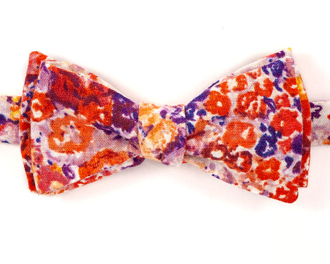 "100% Cotton Multicolor Flower Pattern Self Tie Bow Tie Classic Butterfly Shape Adjustable from 14.5""-18"" Handmade in Seattle, WA Didn't find the right color or size? Special event, party, school formal or wedding that needs a bespoke bow tie?   We'd love to custom make your perfect bow tie. Shoot us an email and we'll work with you to find the right fit."