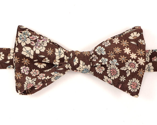 "100% Cotton Coffee Brown Floral Pattern Self Tie Bow Tie Classic Butterfly Shape Adjustable from 14.5""-18"" Handmade in Seattle, WA    Didn't find the right color or size? Special event, party, school formal or wedding that needs a bespoke bow tie?   We'd love to custom make your perfect bow tie. Shoot us an email and we'll work with you to find the right fit."