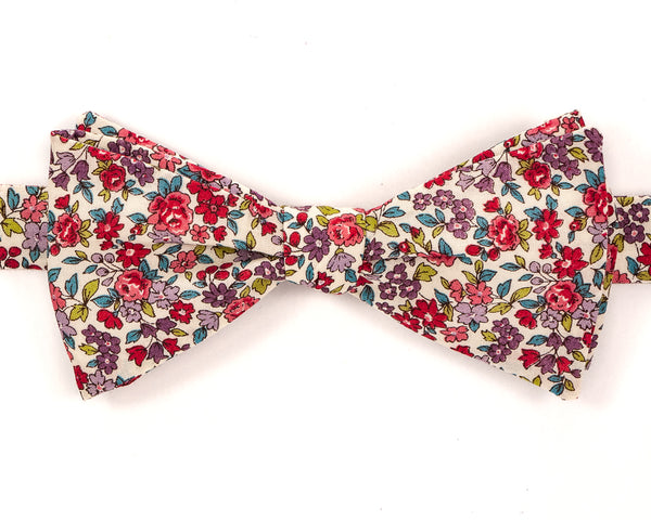 "100% Cotton Multi Color Floral Pattern Self Tie Bow Tie Classic Butterfly Shape Adjustable from 14.5""-18"" Handmade in Seattle, WA Didn't find the right color or size? Special event, party, school formal or wedding that needs a bespoke bow tie?   We'd love to custom make your perfect bow tie. Shoot us an email and we'll work with you to find the right fit."