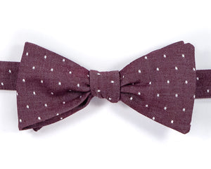 "100% Cotton Chambray Burgundy w/ White Dots Self Tie Bow Tie Classic Butterfly Shape Adjustable from 14.5""-18"" Handmade in Seattle, WA    Didn't find the right color or size? Special event, party, school formal or wedding that needs a bespoke bow tie?   We'd love to custom make your perfect bow tie. Shoot us an email and we'll work with you to find the right fit."