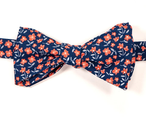 "100% Cotton Blue w/ Floral Pattern Self Tie Bow Tie Classic Butterfly Shape Adjustable from 14.5""-18"" Handmade in Seattle, WA    Didn't find the right color or size? Special event, party or wedding that needs the perfect bow tie? Wedding or school formal?  We'd love to custom make your perfect accessory. Shoot us an email and we'll work with you to find the right fit."