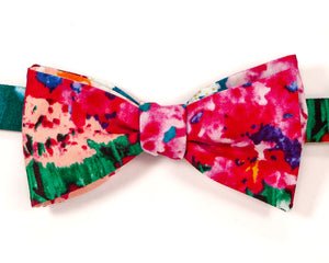 "100% Cotton Multicolor Floral Pattern Self Tie Bow Tie Classic Butterfly Shape Adjustable from 14.5""-18"" Handmade in Seattle, WA    Didn't find the right color or size? Special event, party or wedding that needs the perfect bow tie? Wedding or school formal?  We'd love to custom make your perfect accessory. Shoot us an email and we'll work with you to find the right fit."