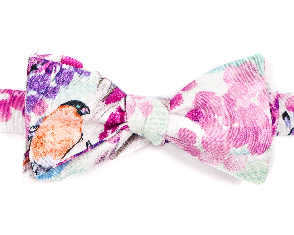 "100% Cotton White with Pink, Purple Flowers. Cute orange bird! Self Tie Bow Tie Classic Butterfly Shape Adjustable from 14.5""-18"" Handmade in Seattle, WA"