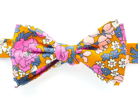Bow Tie - Orange Floral Illustration