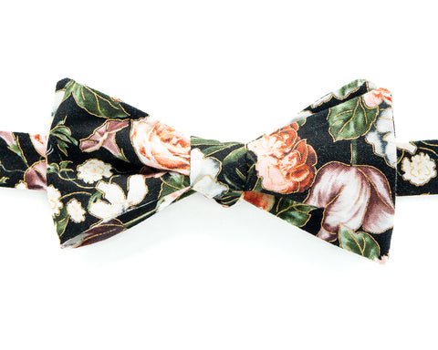 Bow Tie - Black Floral Wallpaper