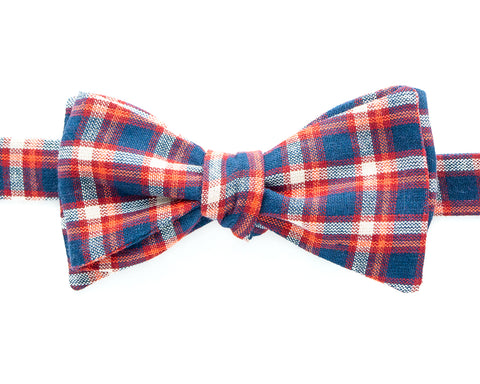 Bow Tie - Orange & Navy Plaid