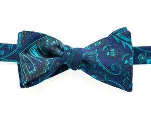 Bow Tie - Dark Blue & Teal Paisley