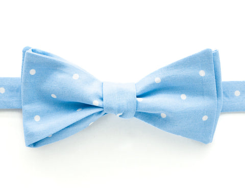 Bow Tie - Light Blue & White Polka Dot