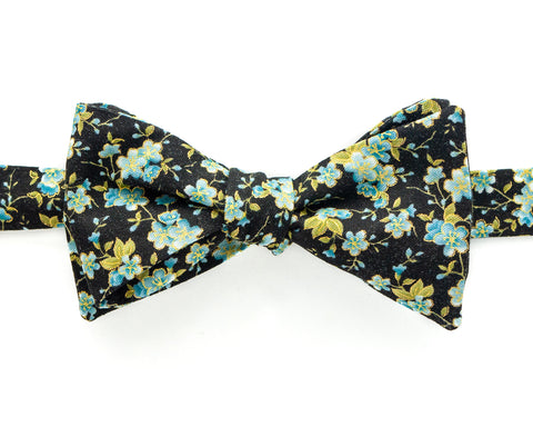 Bow Tie - Black & Blue Flowers