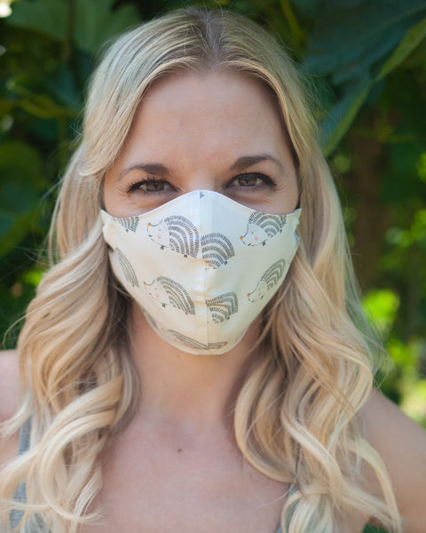 Adult Cotton Face Mask - Navy Fall Flowers