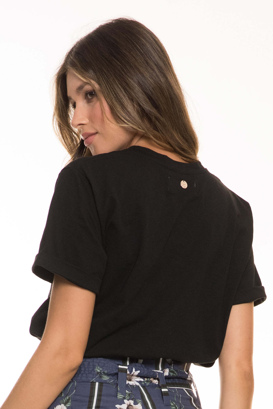 PALMERA BLACK COTTON T-SHIRT
