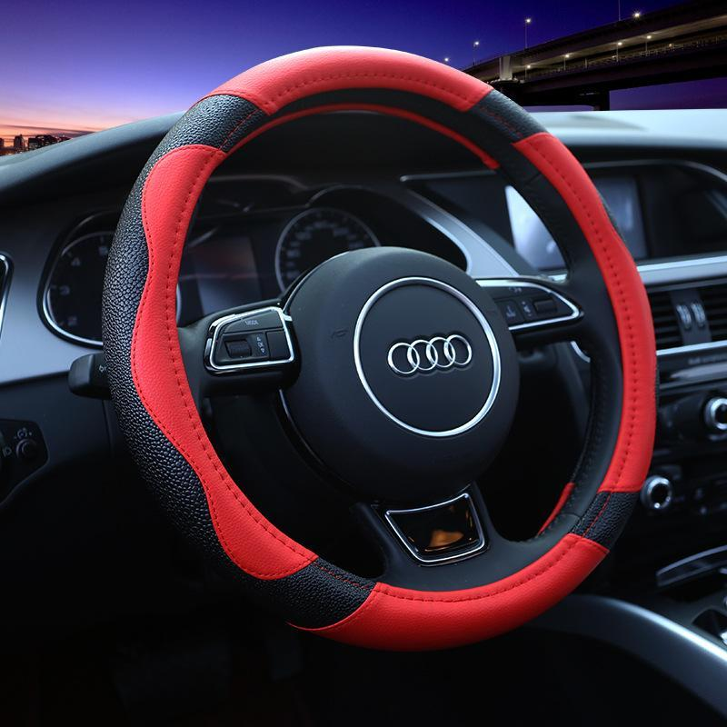 Car Steering Wheel Covers Breathable Anti-Slip Leather Protector【Suitable for all cars】