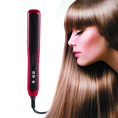 Adjustable temperature straight hair comb