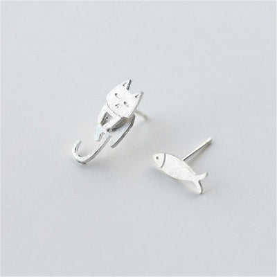 Cat & Fish Silver Stud Earrings